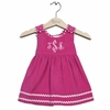 Winter Princess Corduroy Rick Rack Dress in Hot Pink with Light Pink Trim