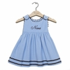 Winter Princess Corduroy Rick Rack Dress in Light Blue with Navy Trim