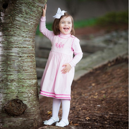 Winter Princess Corduroy Rick Rack Dress in Light Pink with Hot Pink Trim