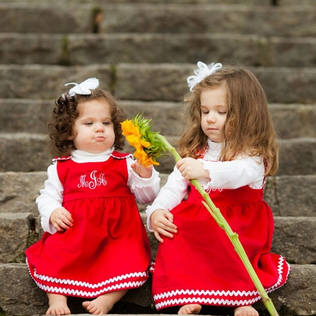 Winter Princess Corduroy Rick Rack Dress in Red with White Trim
