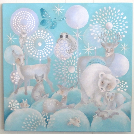 Winter Woodland Animals Aqua & Gray Hand Painted Canvas Wall Art