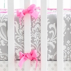 Wisteria Crib Bumper with Bright Pink Trim