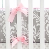 Wisteria Crib Bumper with Pink Trim