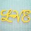 Wood Cursive LOVE State Sign