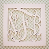 Wood Scalloped Square Wall Monogram