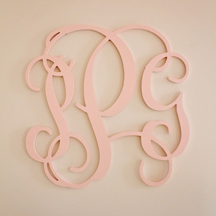 Wood Script Wall Monogram