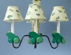 Wooden Frog Chandelier With Shades
