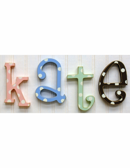 Wooden Polka Dot Letters in Blue