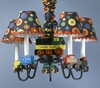 Wooden Train Chandelier With Shades