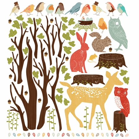 Woodland Scene Retro Fabric Wall Decals