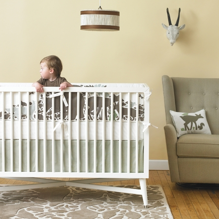 Solid Moss Canvas Crib Skirt