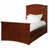Woodridge Arched Twin Bed with Two Underbed Storage Drawers in Chestnut
