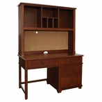 Woodridge Pedestal Desk with Hutch in Chestnut
