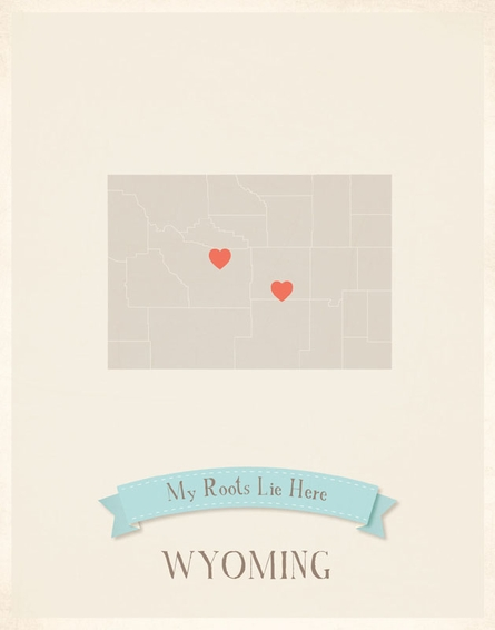 Wyoming My Roots State Map Art Print