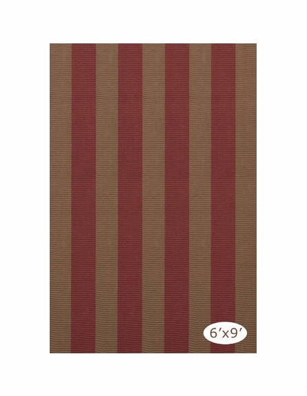 Yacht Stripe Woven Cotton Rug in Brick