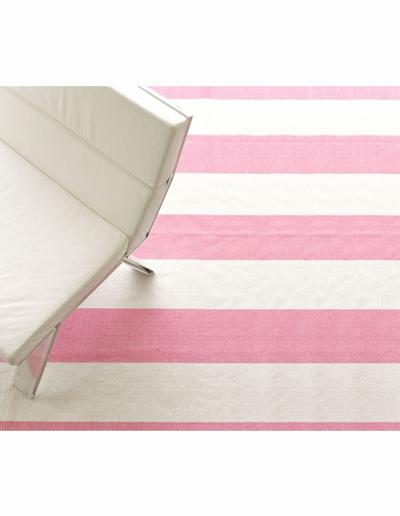 Yacht Stripe Woven Cotton Rug in Pink and White