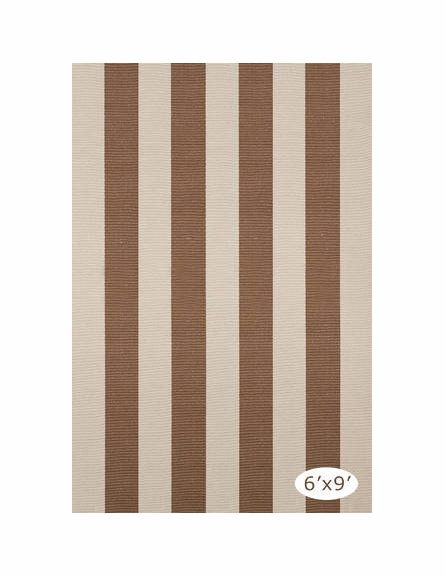Yacht Stripe Woven Cotton Rug in Stone