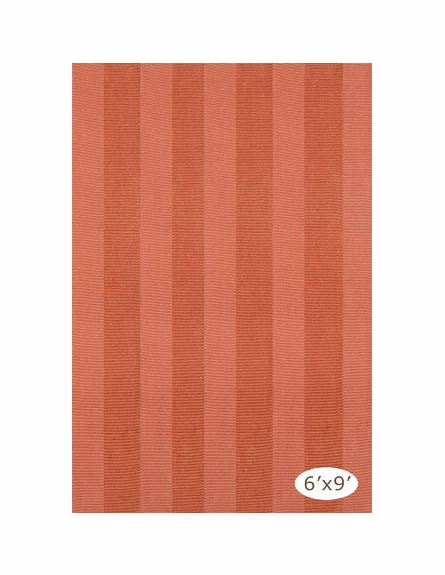 Yacht Stripe Woven Cotton Rug in Terracotta