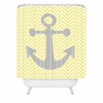 Yellow Anchor Shower Curtain