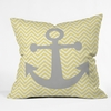 Yellow Anchor Throw Pillow