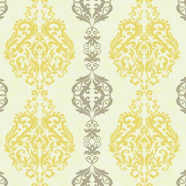 yellow and gray damask stripe wallpaper
