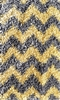 Yellow and Grey Chevron Shaggy Raggy Rug