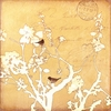Yellow Bird and Branch II Silhouette Canvas Wall Art
