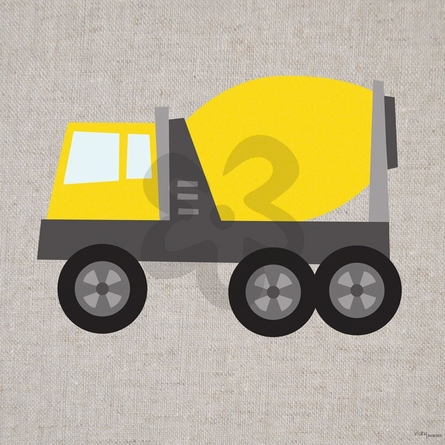 Yellow Cement Mixer Canvas Wall Art