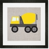 Yellow Cement Mixer Framed Art Print