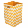 Yellow Chevron Canvas Laundry Bin