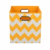 Yellow Chevron Canvas Storage Bin