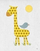 Yellow Giraffe and Bird Canvas Wall Art