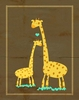 Yellow Giraffe Love Canvas Wall Art