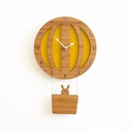 Yellow Hot Air Balloon Wall Clock