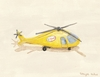 Yellow News Helicopter Canvas Wall Art