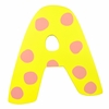 Yellow & Pink Polka Dot Wall Letter - A