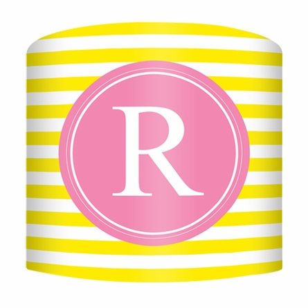 Yellow & Pink Striped Monogram Lamp