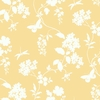 Yellow Scenic Vines Floral Wallpaper