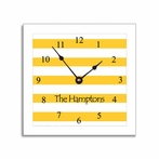Yellow Stripe Wall Clock in Narrow Frame