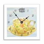 Yellow Teacup Wall Clock with Narrow Frame