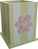 Yellow Waste Basket with Sherbert Pink Daisy