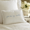 You Are My Sunshine Blue Embroidered Boudoir Pillow
