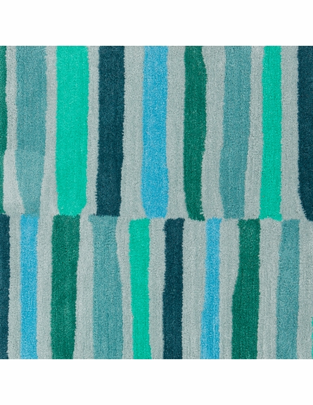 Young Life Striped Rug in Gray and Mint