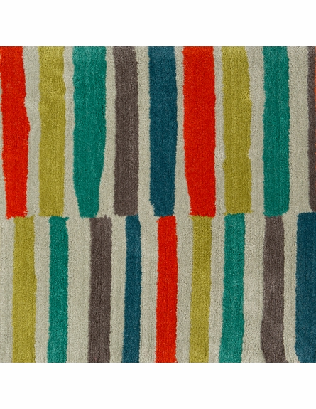 Young Life Striped Rug in Lime and Poppy