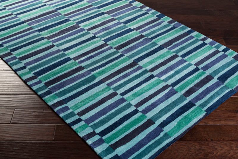 Young Life Striped Rug In Navy And Teal By Surya