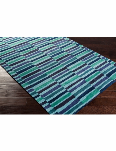 Young Life Striped Rug in Navy and Teal