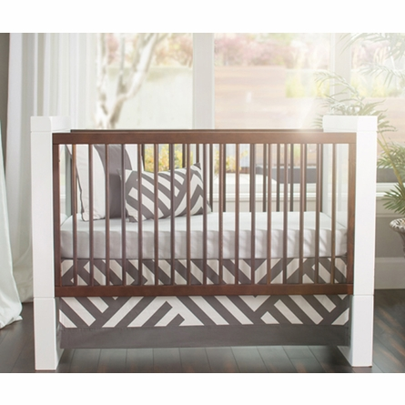 Zara Patterned Crib Skirt in Pewter
