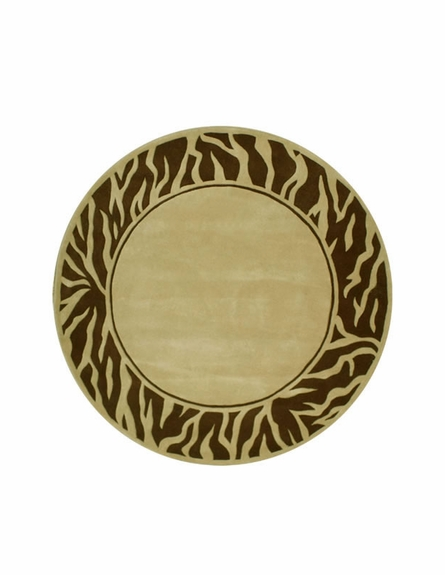 Zebra Border Rug in Beige and Brown