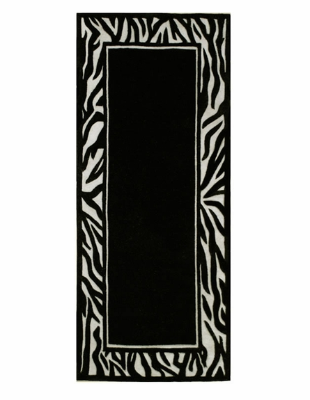 Zebra Border Rug in Ivory and Black