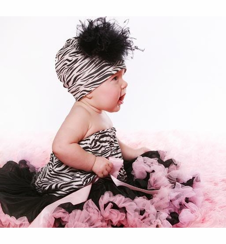 Zebra Cotton Hat with Black Curly Marabou